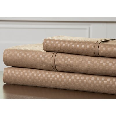 Embossed Sheet Set Color: Taupe, Size: Queen