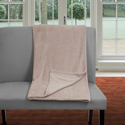 Super Soft Flannel Blanket Color: Beige, Size: King