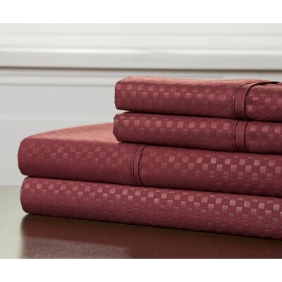 Embossed Sheet Set Size: Twin, Color: Burgundy