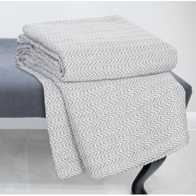 Chevron 100% Cotton Blanket Color: Charcoal, Size: Twin