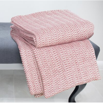 Chevron 100% Cotton Blanket Color: Brick, Size: King