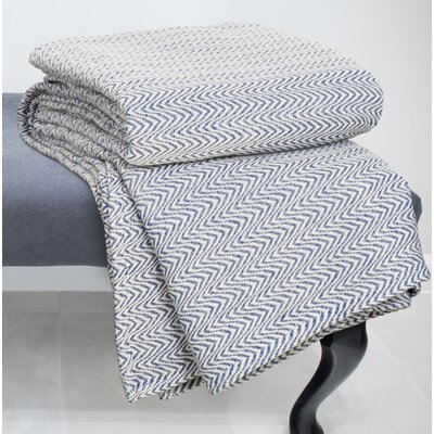 Chevron 100% Cotton Blanket Size: Full / Queen, Color: Blue