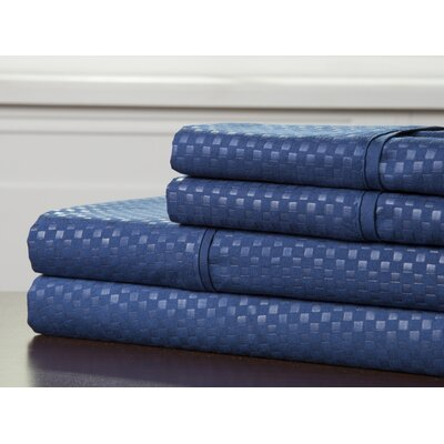 Embossed Sheet Set Color: Navy, Size: Queen