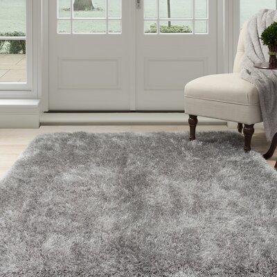 Shag Hand-Woven Gray Area Rug Rug Size: 53 x 77