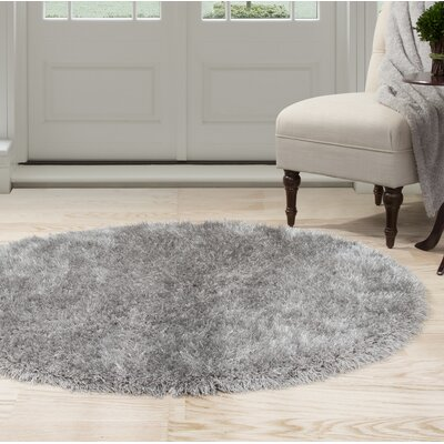 Shag Hand-Woven Gray Area Rug Rug Size: Round 5