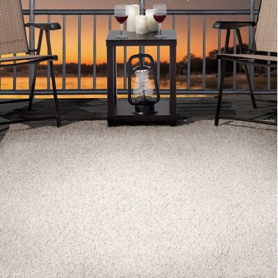 Shag Beige Indoor/Outdoor Area Rug Rug Size: 33 x 5