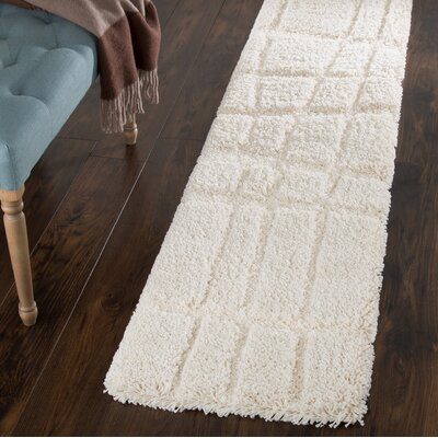 Sculptured Beige Area Rug Rug Size: Runner 18 x 7
