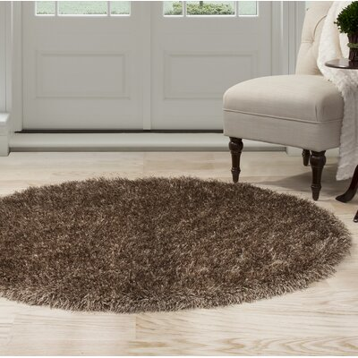 Shag Hand-Woven Brown Area Rug Rug Size: Round 5