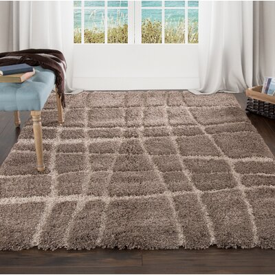 Sculptured Brown Area Rug Rug Size: 5 x 77