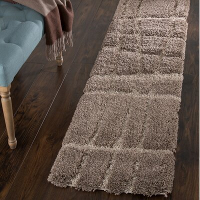 Sculptured Brown Area Rug Rug Size: Runner 18 x 7