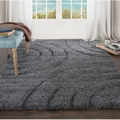 Sculptured Gray Area Rug Rug Size: 33 x 5