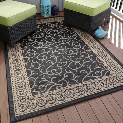 Vine Black/Beige Indoor/Outdoor Area Rug Rug Size: 8 x 10
