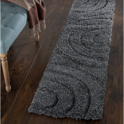 Sculptured Gray Area Rug Rug Size: Runner 18 x 7
