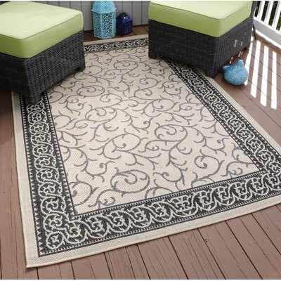 Vine Beige/Black Indoor/Outdoor Area Rug