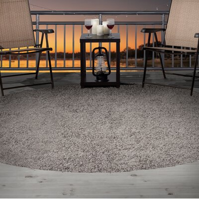 Shag Gray Indoor/Outdoor Area Rug Rug Size: Round 8'