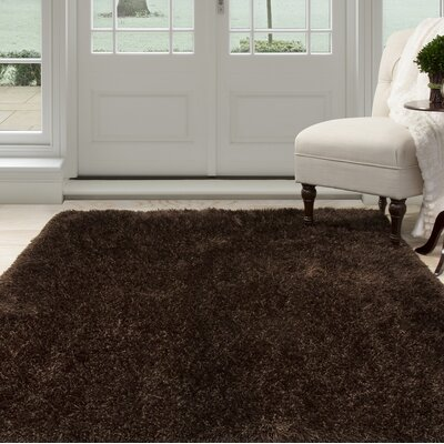 Shag Hand-Woven Brown Area Rug Rug Size: 8 x 10