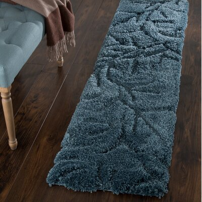 Sculptured Blue Area Rug Rug Size: Runner 18 x 7