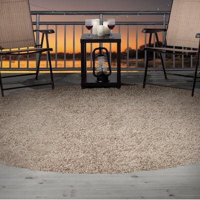 Shag Beige Indoor/Outdoor Area Rug Rug Size: Round 8