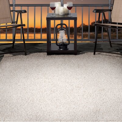 Shag Beige Indoor/Outdoor Area Rug Rug Size: 5 x 77