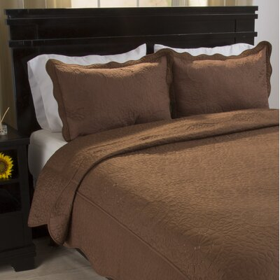 Savannah Quilt Set Color: Chocolate, Size: King