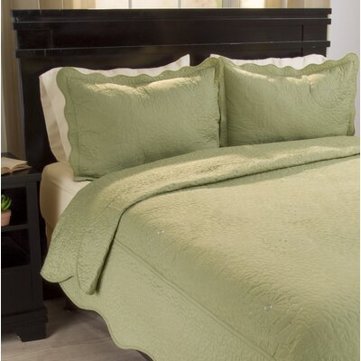 Savannah Quilt Set Color: Sage, Size: King