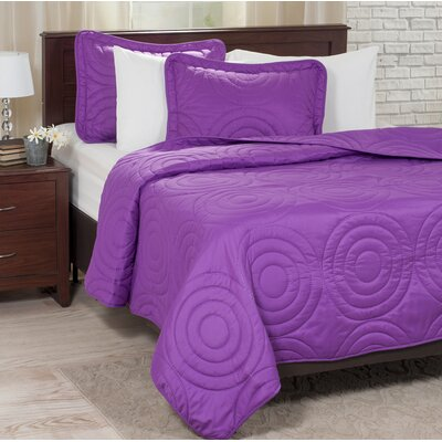 Quilt Set Color: Purple, Size: King