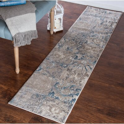 Vintage Gray/Blue Area Rug Rug Size: Runner 1'8