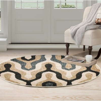 Silhouette Beige/Blue Area Rug Rug Size: Round 5