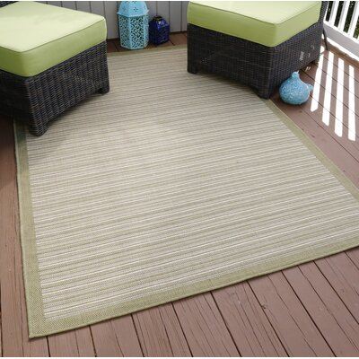 Green/Beige Indoor/Outdoor Area Rug Rug Size: 8 x 10