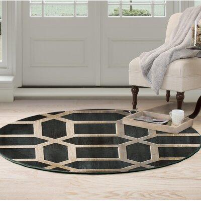 Art Deco Black/Beige Area Rug Rug Size: Round 5