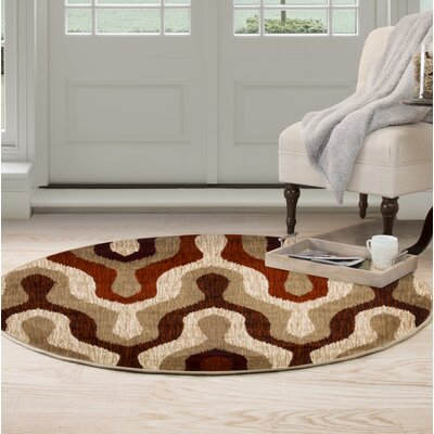 Silhouette Red Area Rug Rug Size: Round 5
