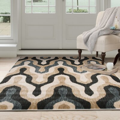 Silhouette Beige/Blue Area Rug Rug Size: Rectangle 8 x 10