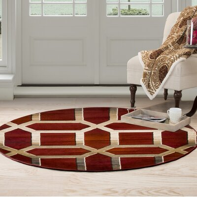 Art Deco Red/Beige Area Rug Rug Size: Round 5