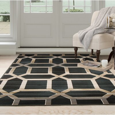 Art Deco Black/Beige Area Rug Rug Size: Rectangle 33 x 5