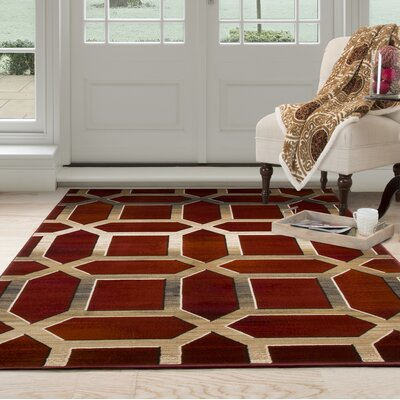 Art Deco Red/Beige Area Rug Rug Size: 33 x 5