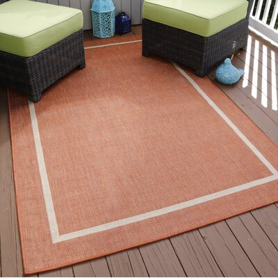 Border Orange Indoor/Outdoor Area Rug Rug Size: 8 Round
