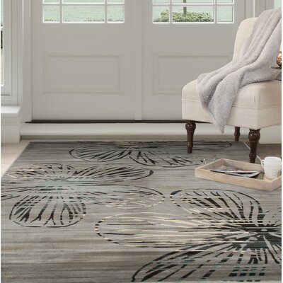 Modern Gray Area Rug Rug Size: Rectangle 53 x 77