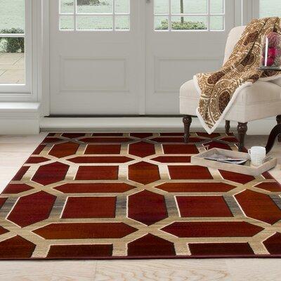 Art Deco Red/Beige Area Rug Rug Size: 8 x 10
