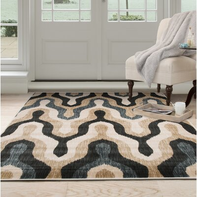 Silhouette Beige/Blue Area Rug Rug Size: Rectangle 33 x 5