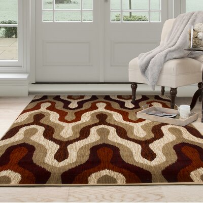 Silhouette Red Area Rug Rug Size: Rectangle 8 x 10