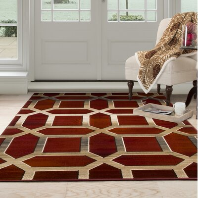 Art Deco Red/Beige Area Rug Rug Size: 53 x 77
