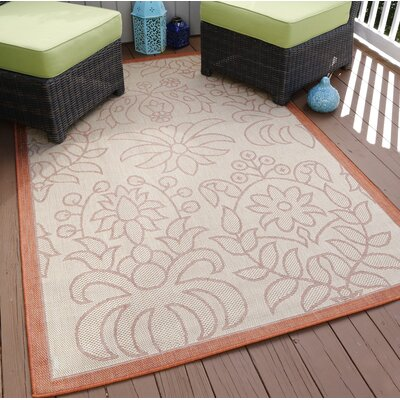 Botanical Beige/Orange Indoor/Outdoor Area Rug