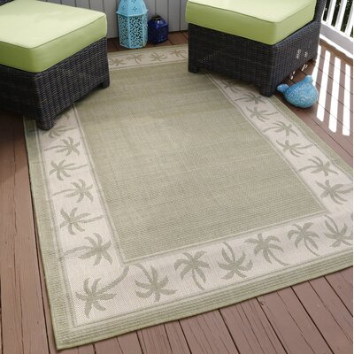 Green/Beige Indoor/Outdoor Area Rug Rug Size: 8 Round
