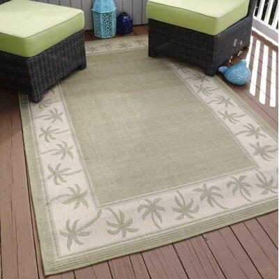 Green/Beige Indoor/Outdoor Area Rug Rug Size: 5 x 8