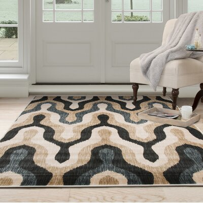 Silhouette Beige/Blue Area Rug Rug Size: 53 x 77