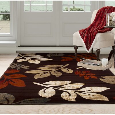 Falling Leaves Red/Beige Area Rug Rug Size: Rectangle 53 x 77