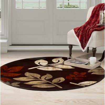 Falling Leaves Red/Beige Area Rug Rug Size: Round 5