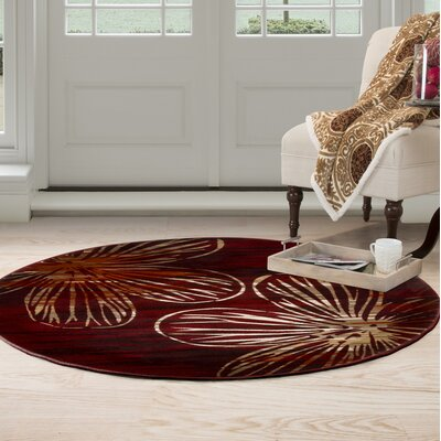 Modern Red Area Rug Rug Size: Round 5