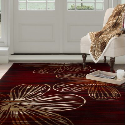 Modern Red Area Rug Rug Size: Rectangle 53 x 77