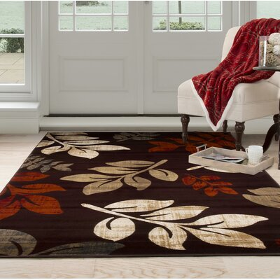 Falling Leaves Red/Beige Area Rug Rug Size: 8 x 10